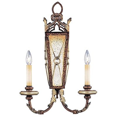 Livex Lighting 2-Light Wall-Mount Palatial Bronze with Gilded Accents Sconce (8822-64)