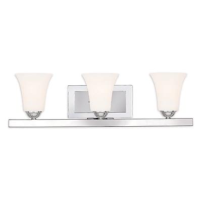 Livex Lighting 3-Light Polished Chrome Bath Vanity with Satin Opal White Glass (6493-05)