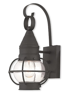 Livex Lighting 1-Light Black Wall Lantern with Hand Blown Clear Glass (26900-04)