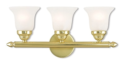 Livex Lighting 3-Light Polished Brass Bath Vanity with White Alabaster Glass (1063-02)