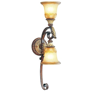 Livex Lighting 2-Light Verona Bronze with Aged Gold Leaf Accents Sconce and Rustic Art Glass (8572-63)