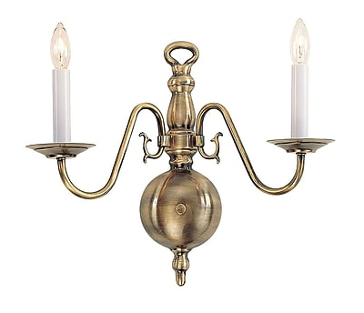Livex Lighting 2-Light Antique Brass Sconce (5002-01)