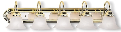 Livex Lighting 5-Light Polished Brass and Chrome Bath Light with White Alabaster Glass Shade (1005-25)