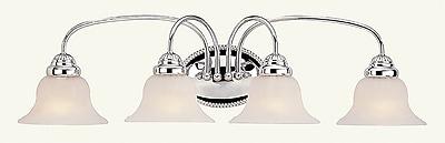 Livex Lighting 4-Light Chrome Bath Light with White Alabaster Glass (1534-05)