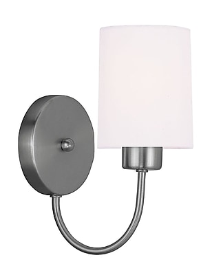 Livex Lighting 1-Light Brushed Nickel Wall Sconce with Hand-Made Off-White Linen Hardback Sit-on Shade (5261-91)
