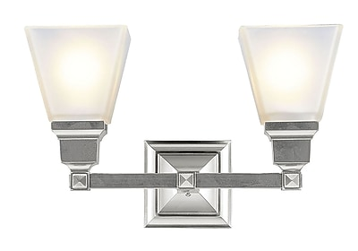 Livex Lighting 2-Light Brushed Nickel Bath Light with Satin Glass Shade (1032-91)