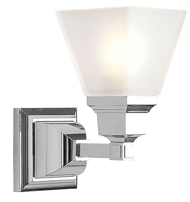 Livex Lighting 1-Light Chrome Bath Light with Satin Glass Shade (1031-05)