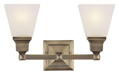 Livex Lighting 2-Light Antique Brass Bath Light with Satin Glass Shade (1032-01)