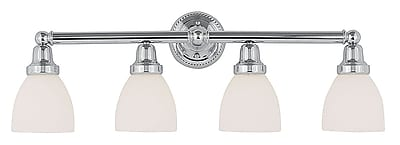Livex Lighting 4-Light Chrome Bath Light with Satin Glass Shade (1024-05)