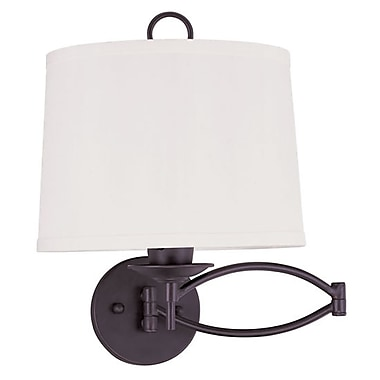 Livex Lighting 1-Light Bronze Swing Arm Wall Lamp with Off-White Linen Hard Back Shade (4903-07)