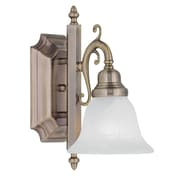 Livex Lighting 1-Light Antique Brass Bath Light with White Alabaster Glass (1281-01)
