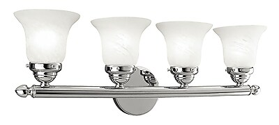 Livex Lighting 4-Light Chrome Bath Light with White Alabaster Glass Shade (1064-05)