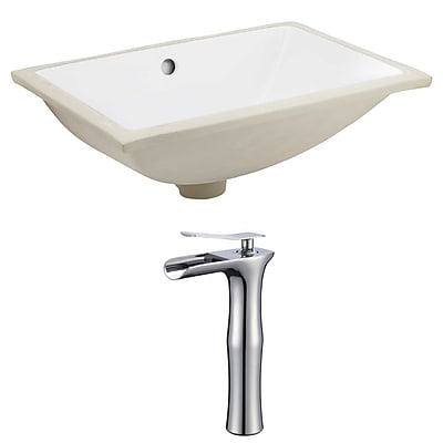 "American Imaginations 20.75""W Rectangle Undermount Sink Set in White - Chrome Hardware With Deck Mount CUPC Faucet (AI-22734)"