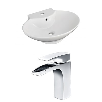 "American Imaginations 22.75""W Above Counter White Vessel Hole Center Faucet (AI-15036)"