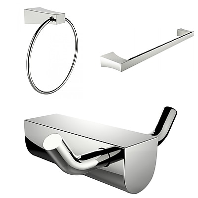 American Imaginations Modern Towel Ring With Single Rod Towel Rack and Robe Hook Accessory Set (AI-13676)