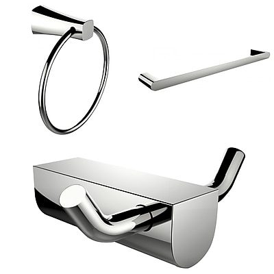 American Imaginations Modern Towel Ring With Single Rod Towel Rack and Robe Hook Accessory Set (AI-13671)