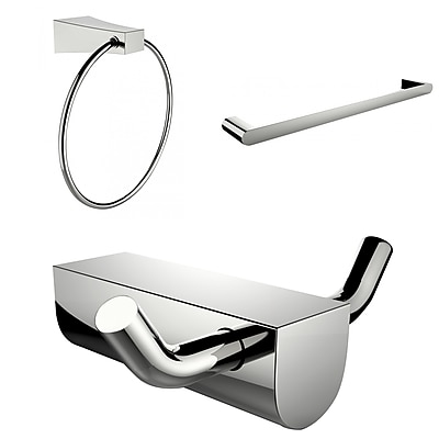 American Imaginations Modern Towel Ring With Single Rod Towel Rack and Robe Hook Accessory Set (AI-13678)