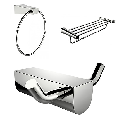 American Imaginations Chrome Plated Multi-Rod Towel Rack With Towel Ring and Robe Hook Accessory Set (AI-13675)