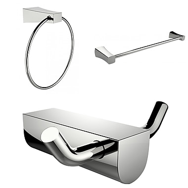 American Imaginations Modern Towel Ring With Single Rod Towel Rack and Robe Hook Accessory Set (AI-13674)