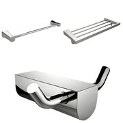 American Imaginations Chrome Plated Robe Hook With Single Towel Rod and Multi-Rod Towel Rack Accessory Set (AI-13688)