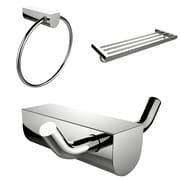 American Imaginations Chrome Plated Towel Ring With Multi-Rod Towel Rack and Robe Hook Accessory Set (AI-13685)