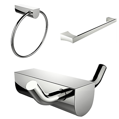 American Imaginations Chrome Plated Towel Ring With Single Rod Towel Rack and Robe Hook Accessory Set (AI-13682)