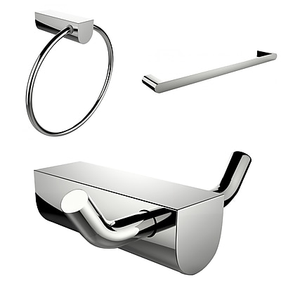 American Imaginations Chrome Plated Towel Ring With Single Rod Towel Rack and Robe Hook Accessory Set (AI-13684)
