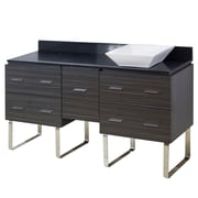 "American Imaginations 60""W Floor Mount Dawn Grey Vanity Set for Deck Mount Drilling Black Galaxy Top (AI-1374)"