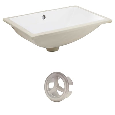 """""""""""American Imaginations 20.75""""""""""""""""W Rectangle Undermount Sink Set in White - Brushed Nickel Hardware (AI-20408)"""""""""""" 24263616"""