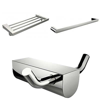 American Imaginations Chrome Plated Robe Hook With Single Towel Rod and Multi-Rod Towel Rack Accessory Set (AI-13698)