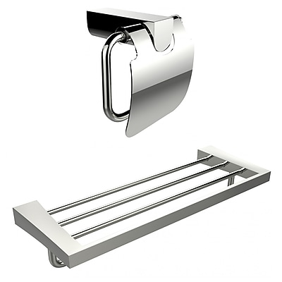 American Imaginations Chrome Plated Toilet Paper Holder With Multi-Rod Towel Rack Accessory Set (AI-13340)