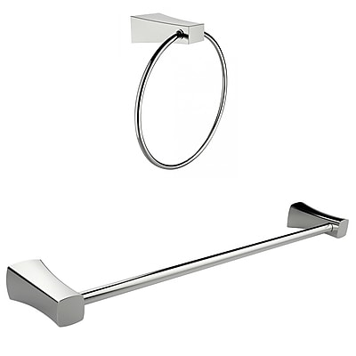American Imaginations Chrome Plated Towel Ring With Single Rod Towel Rack Accessory Set (AI-13354)
