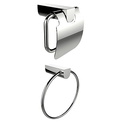 American Imaginations Chrome Plated Towel Ring With Toilet Paper Holder Accessory Set (AI-13336)