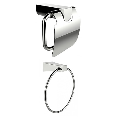 American Imaginations Chrome Plated Towel Ring With Toilet Paper Holder Accessory Set (AI-13335)