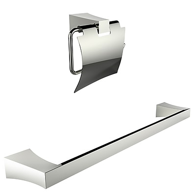 American Imaginations Chrome Plated Toilet Paper Holder With Single Rod Towel Rack Accessory Set (AI-13329)