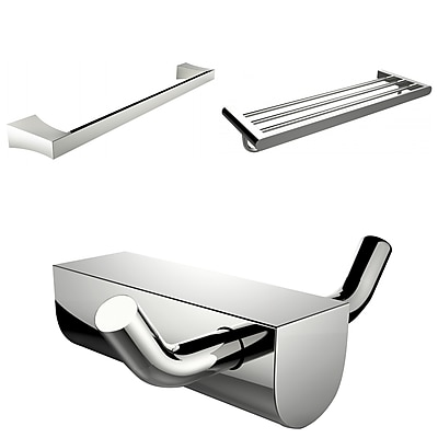 American Imaginations Chrome Plated Robe Hook With Single Towel Rod and Multi-Rod Towel Rack Accessory Set (AI-13697)