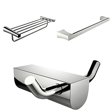 American Imaginations Chrome Plated Robe Hook With Single Towel Rod and Multi-Rod Towel Rack Accessory Set (AI-13691)