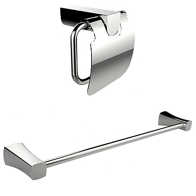American Imaginations Chrome Plated Toilet Paper Holder With Single Rod Towel Rack Accessory Set (AI-13337)