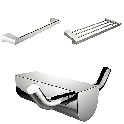 American Imaginations Chrome Plated Robe Hook With Single Towel Rod and Multi-Rod Towel Rack Accessory Set (AI-13695)