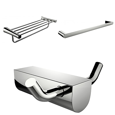 American Imaginations Chrome Plated Robe Hook With Single Towel Rod and Multi-Rod Towel Rack Accessory Set (AI-13693)