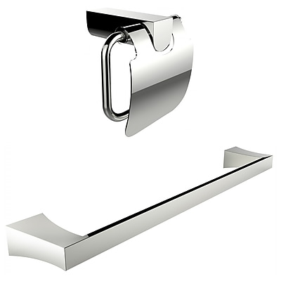 American Imaginations Chrome Plated Toilet Paper Holder With Single Rod Towel Rack Accessory Set Chrome (AI-13339)