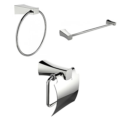 American Imaginations Modern Towel Ring, Single Rod Towel Rack and Toilet Paper Holder Accessory Set (AI-13927)