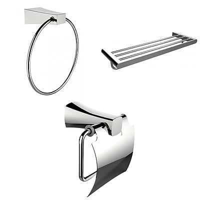 American Imaginations Chrome Towel Ring, Multi-Rod Towel Rack and Toilet Paper Holder Accessory Set (AI-13932)