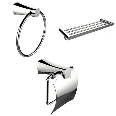 American Imaginations Chrome Towel Ring, Multi-Rod Towel Rack and Toilet Paper Holder Accessory Set (AI-13925)