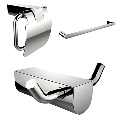 American Imaginations Single Rod Towel Rack, Robe Hook and Toilet Paper Holder Accessory Set (AI-13663)