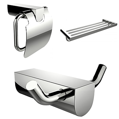 American Imaginations Modern Multi-Rod Towel Rack, Toilet Paper Holder and Robe Hook Accessory Set (AI-13664)