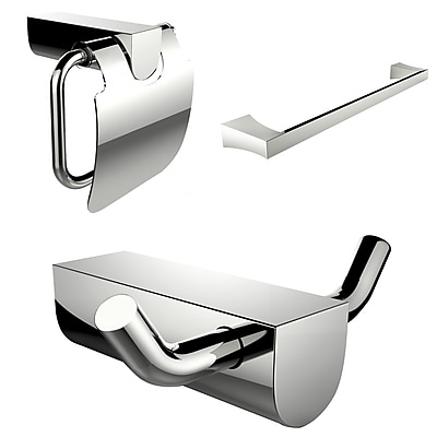 American Imaginations Single Rod Towel Rack, Robe Hook and Toilet Paper Holder Accessory Set (AI-13661)