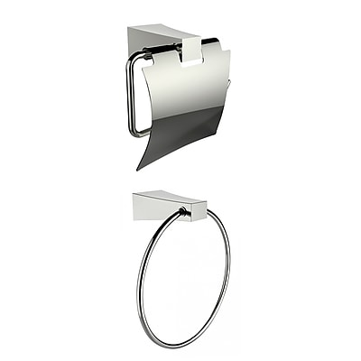 American Imaginations Chrome Plated Towel Ring With Toilet Paper Holder Accessory Set (AI-13325)