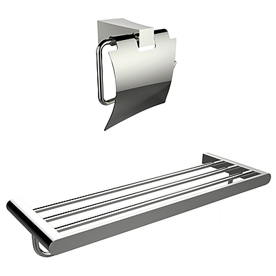 American Imaginations Multi-Rod Towel Rack With A Chrome Plated Toilet Paper Holder Accessory Set (AI-13332)