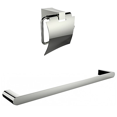 American Imaginations Chrome Plated Toilet Paper Holder With Single Rod Towel Rack Accessory Set (AI-13331)